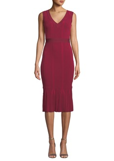 Herve Leger V-Neck Bandage-Belt Ribbed Midi Dress