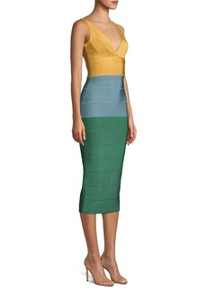 Herve Leger V-Neck Colorblock Midi Dress