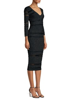 Herve Leger V-Neck Lurex & Knit Midi Dress