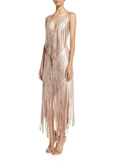 Herve Leger V-Neck Sleeveless Foil Fringe Midi Cocktail Dress