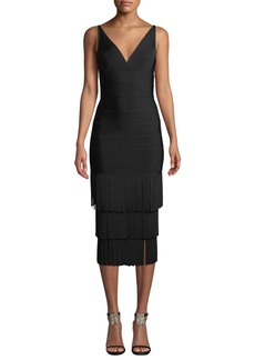 Herve Leger V-Neck Tiered Tassel-Hem Cocktail Dress