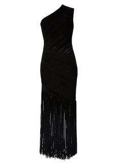 Herve Leger Velvet Ribbed One-Shoulder Fringe Gown