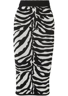 Herve Leger Zebra-intarsia Knitted Midi Skirt