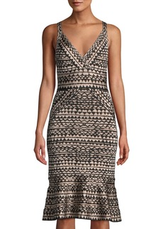 Herve Leger Zigzag Bandage Flounce-Hem Cocktail Dress