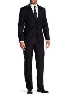 Hickey Freeman Black 2-Button Notch Lapel Classic Fit Wool Suit