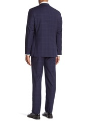 Hickey Freeman Blue Plaid Two Button Notch Lapel Wool Classic Fit Suit