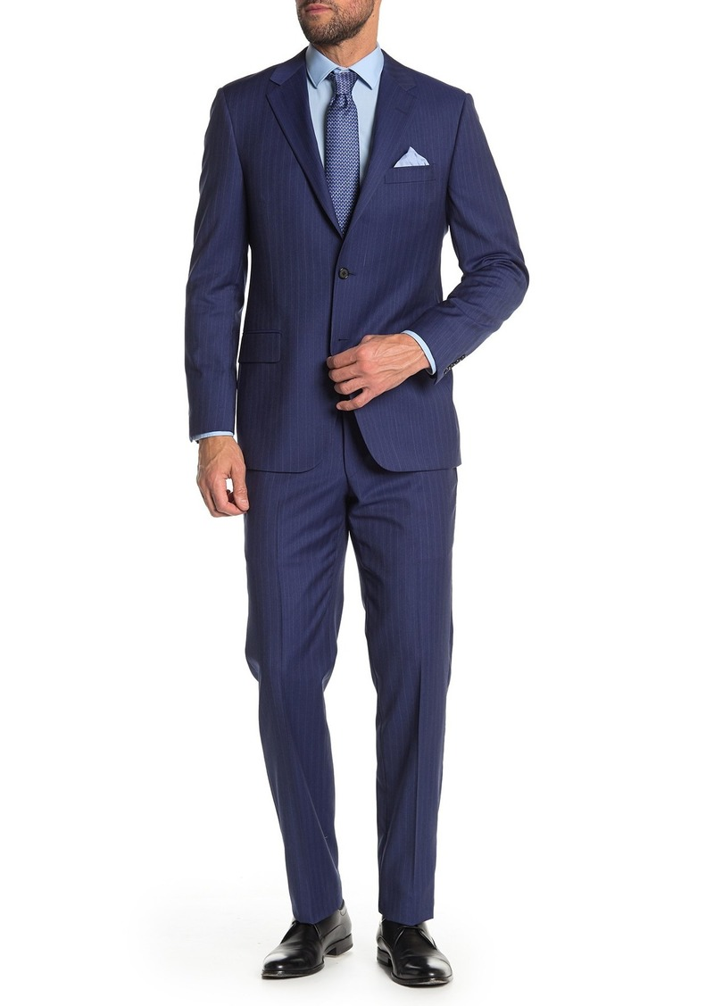Hickey Freeman Blue Stripe Classic Fit Wool Suit