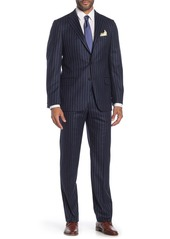 Hickey Freeman Blue Stripe Two Button Notch Lapel Wool Classic Fit Suit
