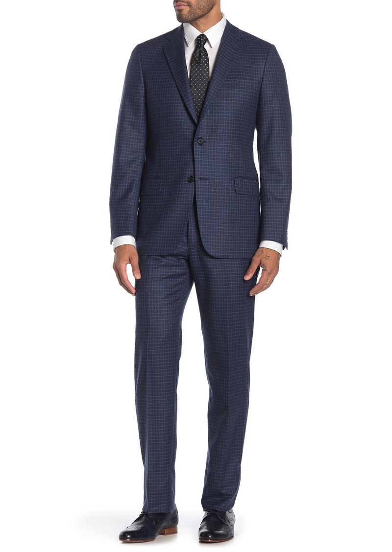 Hickey Freeman Blue Windowpane Two Button Notch Lapel Wool Classic Fit Suit