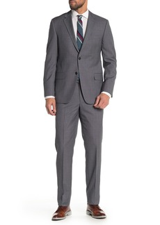 Hickey Freeman Grey Checkered Classic Fit Wool Suit
