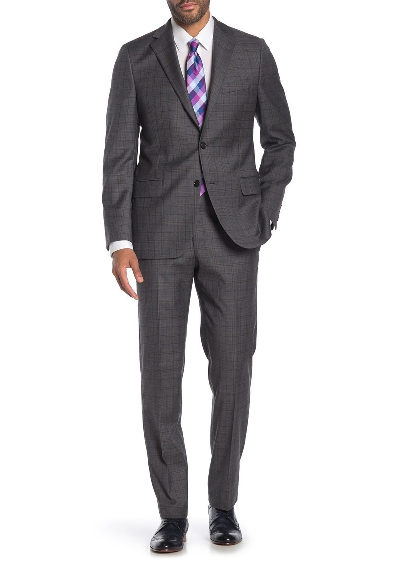 Hickey Freeman Grey Plaid Two Button Notch Lapel Wool Classic Fit Suit