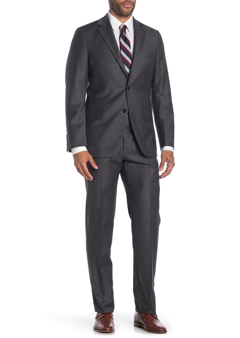 Hickey Freeman Grey Solid Two Button Notch Lapel Wool Classic Fit Suit