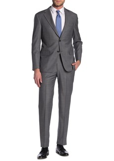 Hickey Freeman Grey Two Button Notch Lapel Wool Suit