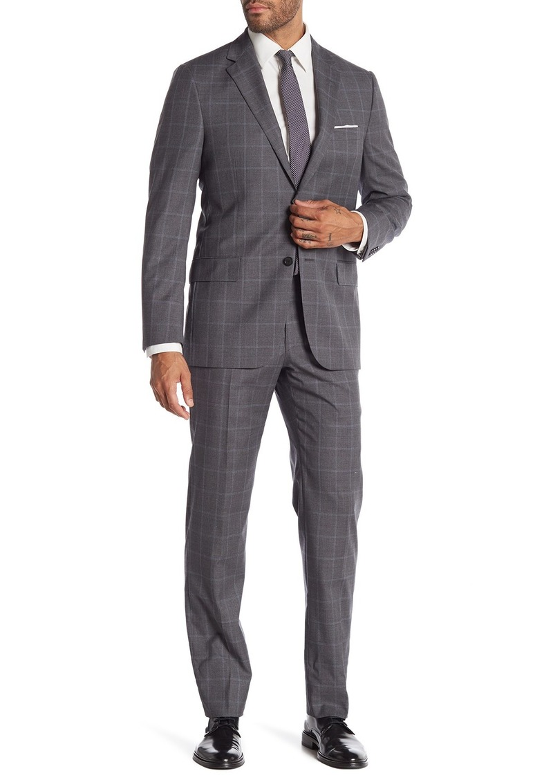 Hickey Freeman Grey Windowpane Two Button Notch Lapel Wool Classic Fit Suit