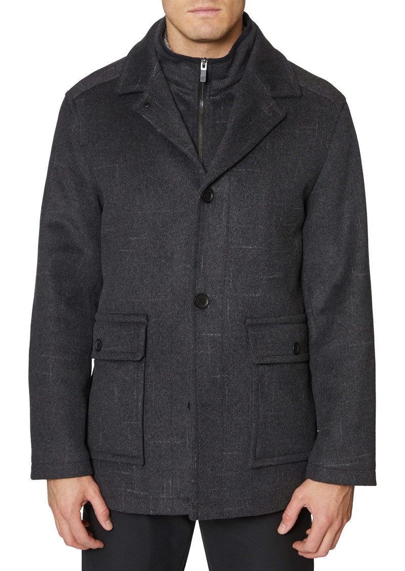 Hickey Freeman Brushstroke Wool Blend Coat