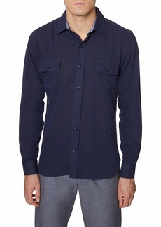 Hickey Freeman Button Down Regular Fit Shirt Navy