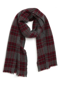 Hickey Freeman Cashmere Grid Plaid Scarf