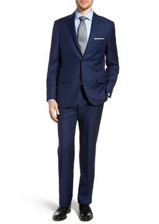 Hickey Freeman Classic B Fit Stripe Wool Suit
