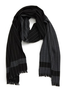 Hickey Freeman Colorblock Chalk Stripe Wool Scarf