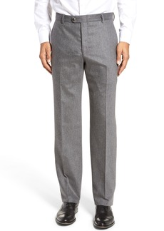 Hickey Freeman Classic B Fit Flat Front Solid Wool Blend Trousers