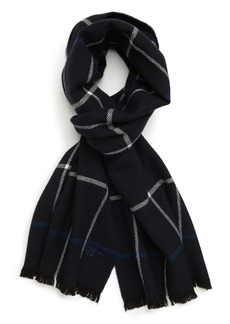 Hickey Freeman Herringbone Windowpane Plaid Wool Scarf