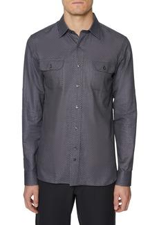 Hickey Freeman Jacquard Broadway Regular Fit Button-Up Shirt