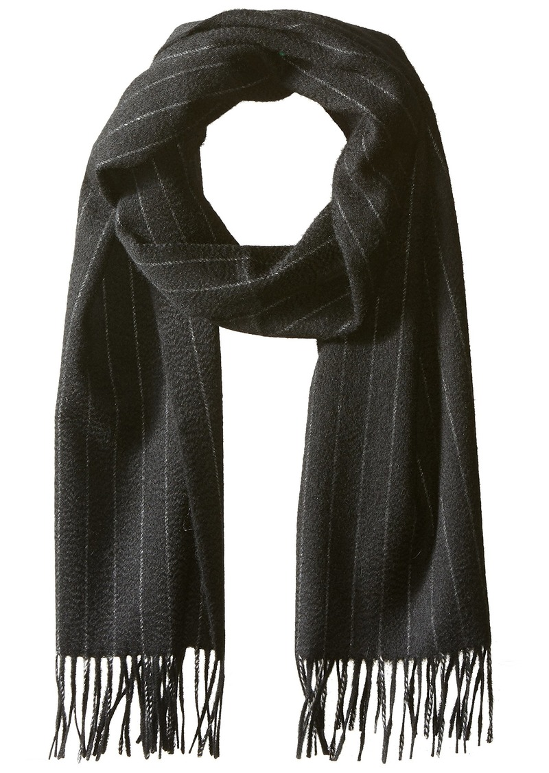 Hickey Freeman Men's Cashmere Pinstripe Scarf black/white