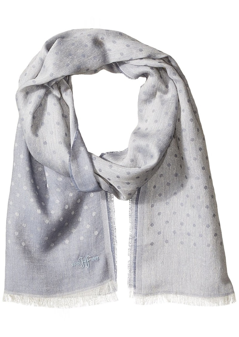 Hickey Freeman Men's Italian Cottonlinen Blend Polka Dot Scarf