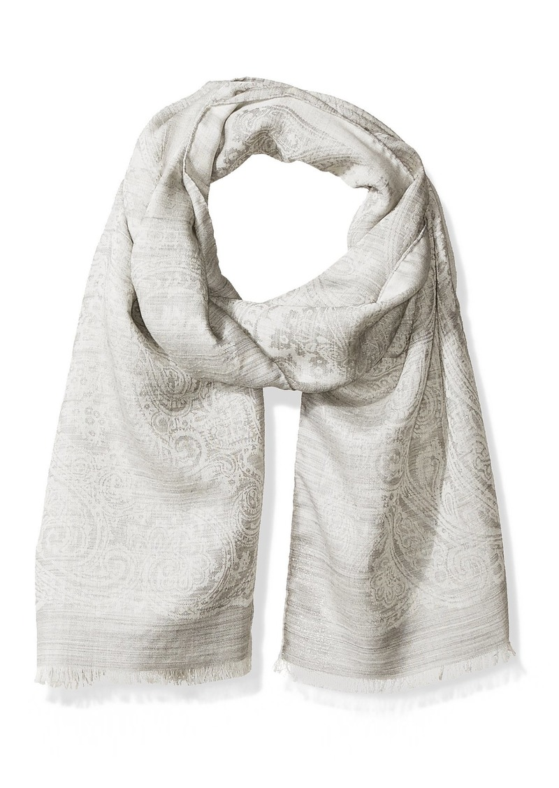 Hickey Freeman Men's Italian Linen Silk Repeat Paisley Scarf Grey