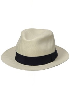Hickey Freeman Men's Toyo Straw Fedora Hat White/Navy
