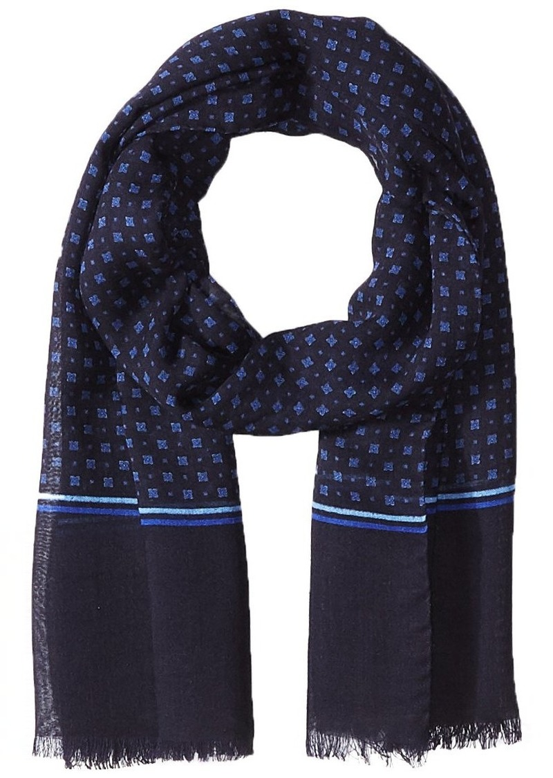 Hickey Freeman Men's Wool/Silk Printed Neat Scarf navy