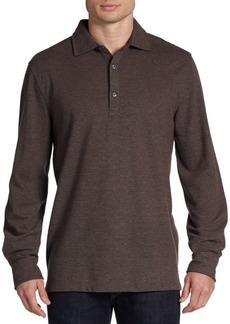 Hickey Freeman Merino Wool & Cotton Long-Sleeve Polo