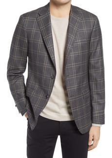 Hickey Freeman Plaid Overcheck Wool Sport Coat