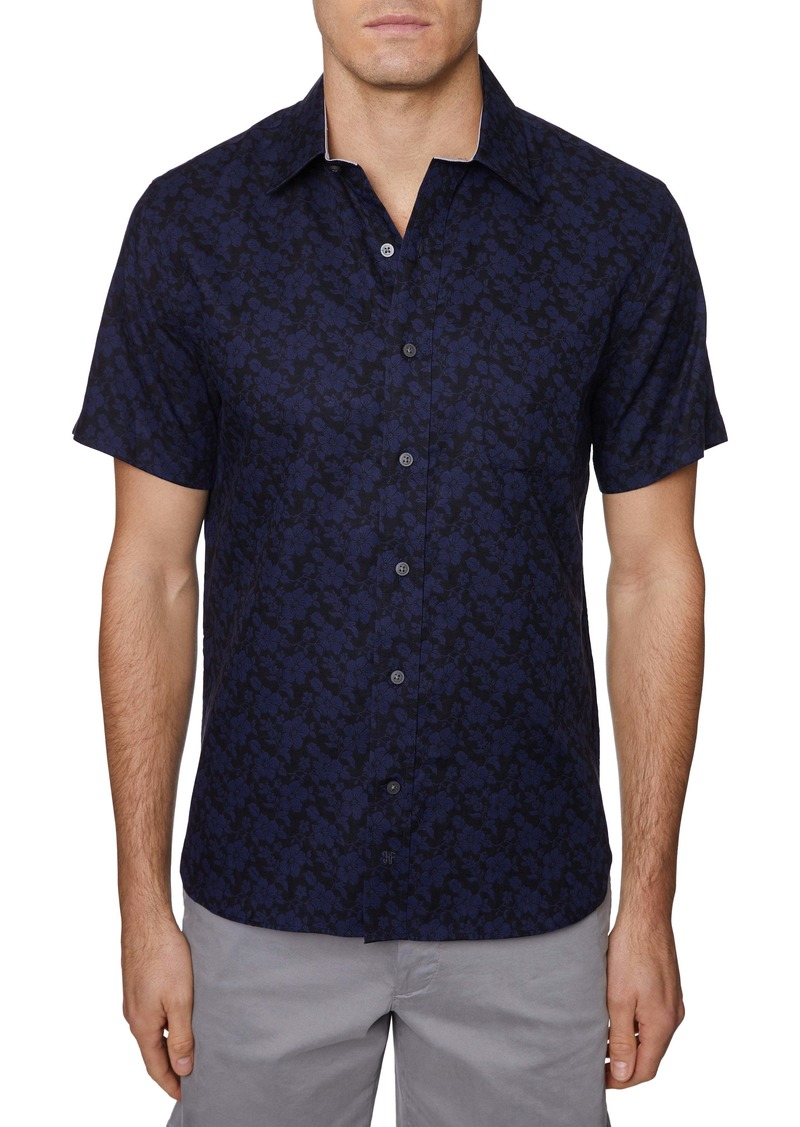 Hickey Freeman Regular Fit Floral Print Short Sleeve Button-Up Shirt