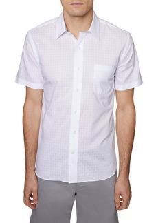 Hickey Freeman Regular Fit Grid Short Sleeve Button-Up Shirt