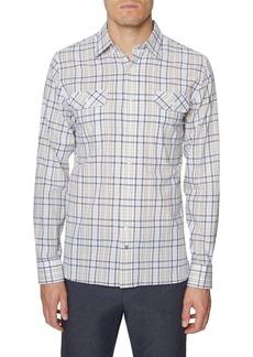 Hickey Freeman Seersucker Bedford Plaid Button-Up Shirt