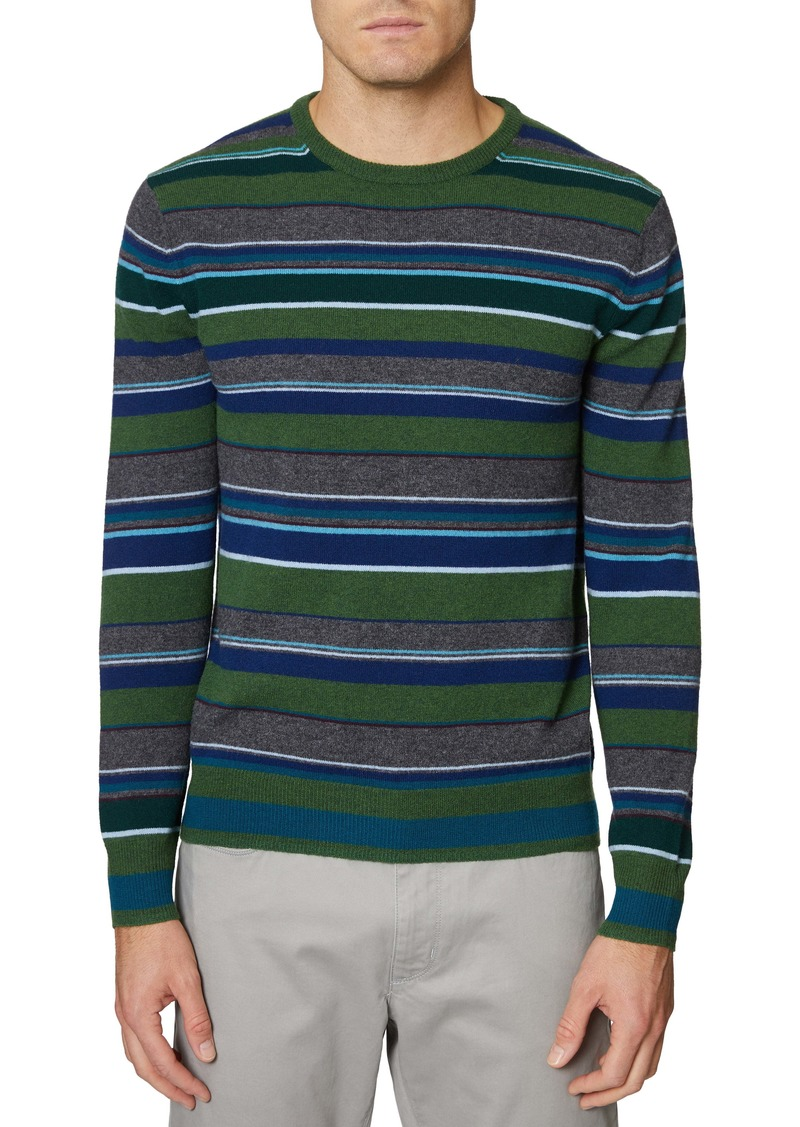 Hickey Freeman Stripe Merino Wool & Cashmere Sweater