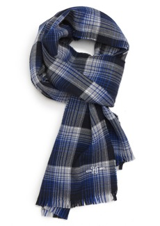 Hickey Freeman Windowpane Plaid Merino Wool Scarf