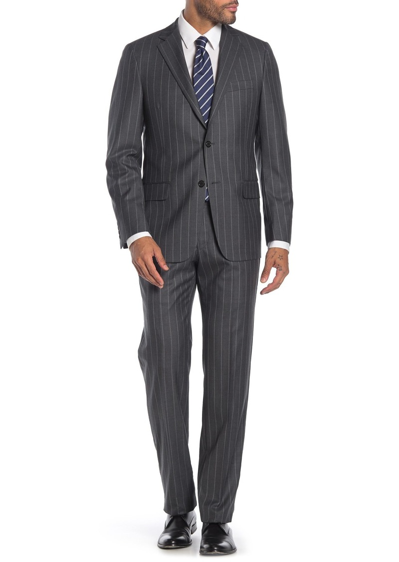 Hickey Freeman Light Grey Stripe Two Button Notch Lapel Wool Classic Fit Suit