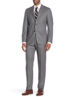 Hickey Freeman Light Grey Windowpane Two Button Notch Lapel Wool Classic Fit Suit