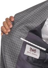 Hickey Freeman Light Grey Windowpane Two Button Notch Lapel Wool Classic Fit Suit