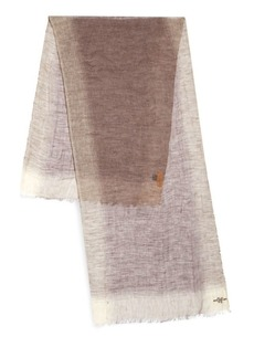 Hickey Freeman Linen Border Striped Scarf