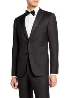Hickey Freeman Men's Two-Piece Tasmanian Wool Tuxedo Suit with Satin Notch Lapel