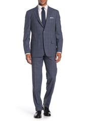 Hickey Freeman Milburn II Blue Glen Plaid Two Button Notch Lapel Wool Classic Fit Suit