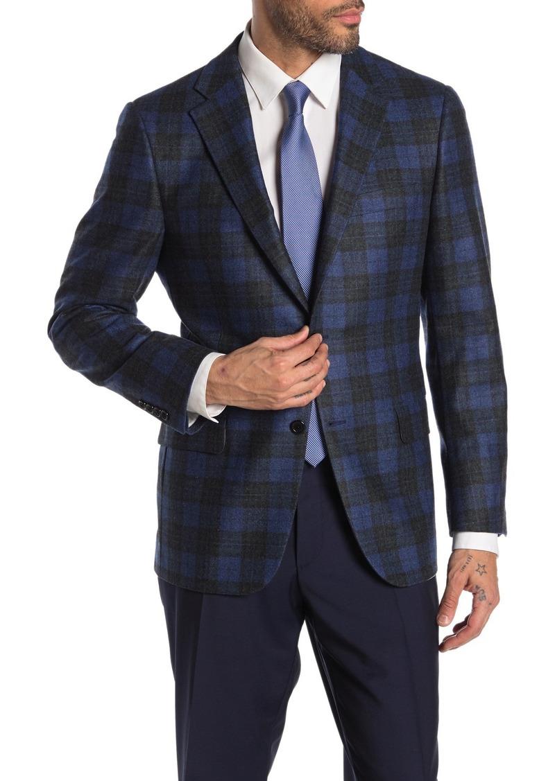 Hickey Freeman Milburn II Blue Plaid Two Button Notch Lapel Cashmere Jacket