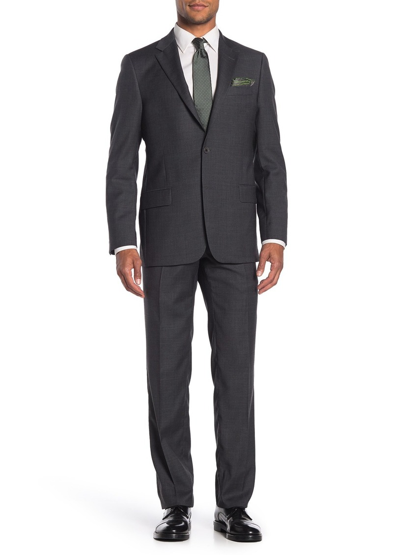 Hickey Freeman Milburn II Charcoal Two Button Notch Lapel Wool Classic Fit Suit