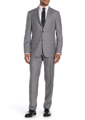 Hickey Freeman Milburn II Grey Glen Plaid Two Button Notch Lapel Wool Classic Fit Suit