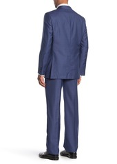 Hickey Freeman Milburn II Medium Blue Two Button Notch Lapel Wool Classic Fit Suit