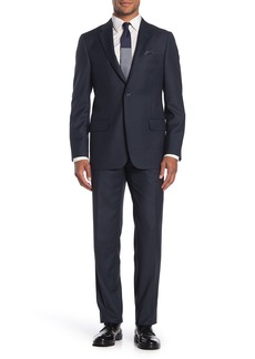 Hickey Freeman Milburn II Navy Solid Two Button Notch Lapel Wool Classic Fit Suit
