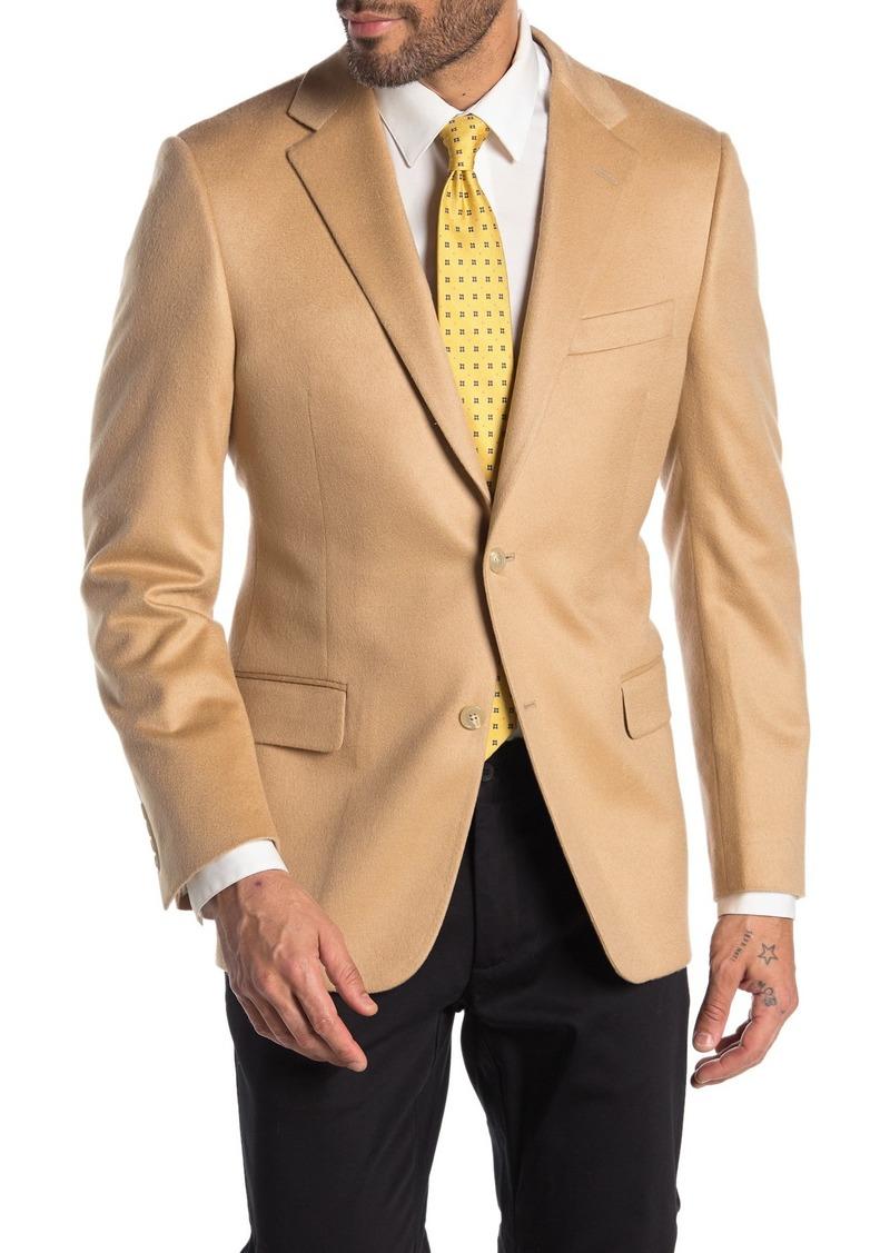 Hickey Freeman Milburn II Tan Solid Two Button Notch Lapel Cashmere Jacket